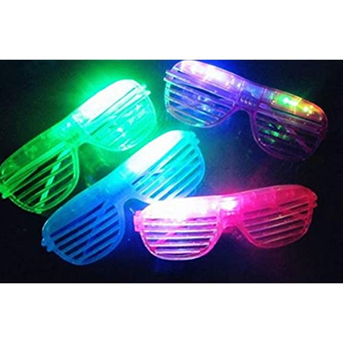 12 Piece Slotted & Shutter Shades Light Up Unisex Flashing Glasses For Adults & Children (