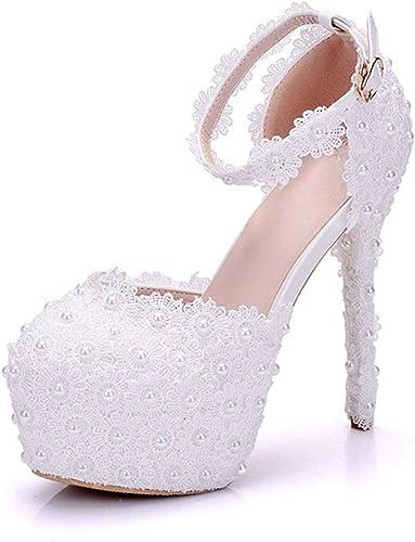 ZHRUI Les Les dames Haute Plateforme Plateforme Chaussures de Mariage de Talon Aiguille de Dentelle de Fleurs (Couleuré   blanc-14cm Heel, Taille   4.5 UK)  les promotions