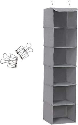 SONGMICS Hanging Storage with 6 Shelves Wardrobe Closet Organiser + 2 Clips, Grey 30 x 30 x 130 cm (W x D x H) RCH06G