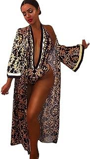 UONQD Women 2 Pieces Sets V-Neck Print Jumpsuit Long Maxi Coat Sexy Beach Wear