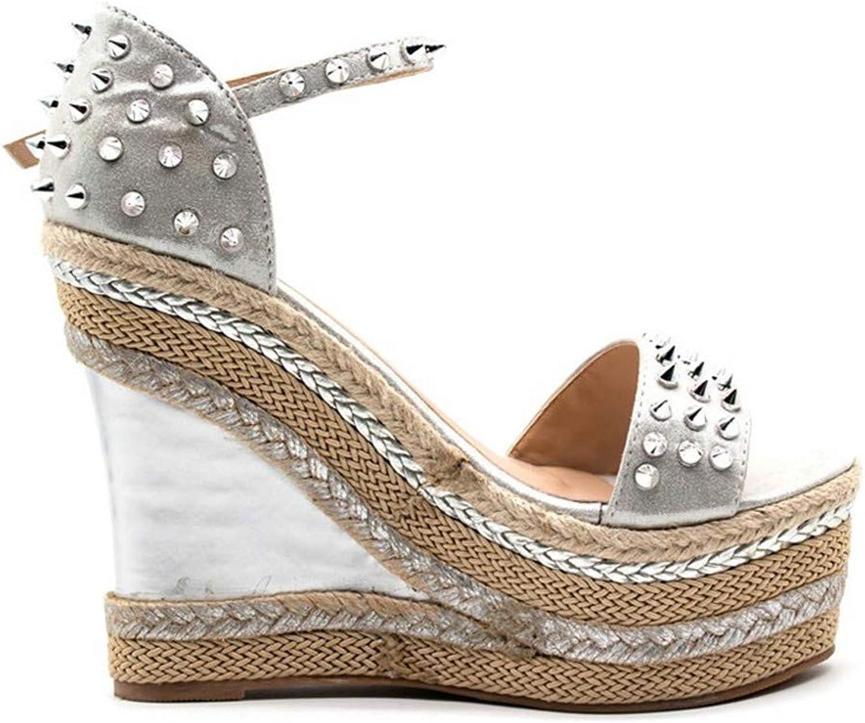Buckle Open Toe Wedge Sandals High-Heeled shoes Woven Platform Rivet Sandals