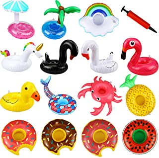 16 pcs/Set Inflatable Swim Floats Cup Holder Set, Summer Pool Lesser Coasters Floating Water Cup Holder For Children and S...