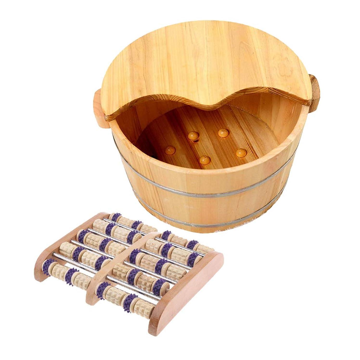 フリル悩み奇妙なCUTICATE 足つぼマッサージ器 手作りウッドフットマッサー 木製の足の洗面台付き 足裏 ツボ押 血行促進