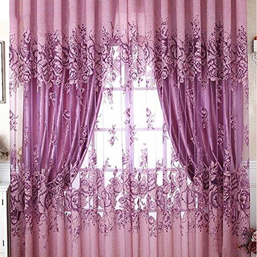 bluelans® tissé fente haut en tulle voile panneau de rideau transparent, 100 cm x 200 cm, Violet, 100cm x 200cm