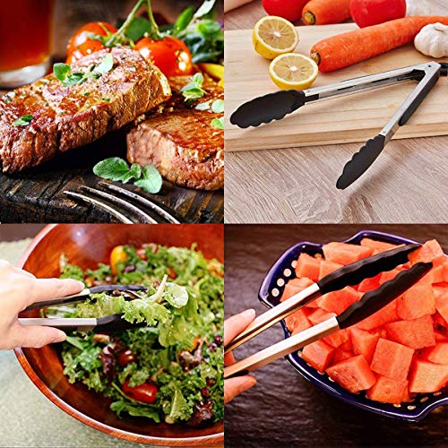 Kitchen Tongs - Set of 3-7, 9, 12 Inch,Silicone Food Tongs-Non-slip, Stainless Steel Cooking Tongs-Smart Locking Clip-Heat Resistant,Food Grade-Handy Utensils For Barbecue,Frying,Salad,Ice (Black)