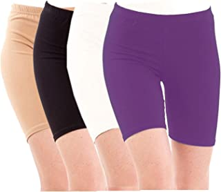 Pixie Biowashed Cycling Shorts for Girls/Women/Ladies Combo (Pack of 4) Beige, Black, White, Purple - Free Size
