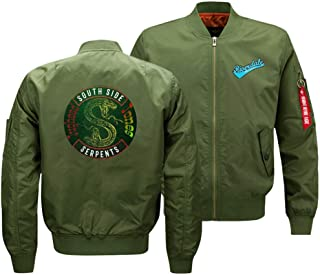 Hzlys Riverdale South Side Serpents Mens Flight Jacket,Women's Lightweight Sportswear Bomber Jackets Fall Winter Outerwear Full Zip Up Baseball Varsity Jacketgreen 3-XXXL