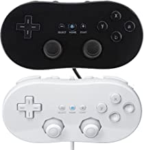 Reiso Controller for Wii,Classic Console Gampad Gaming Pad Joypad Pro for Nintendo Wii (2 Pack Black and White)