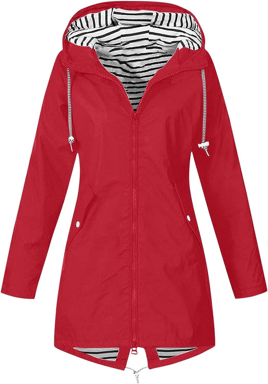 BEUU Women's Long Rain Jacket Lightweight Outdoor Coat Windproof Hooded Trench Coat Windbreaker Waterproof Raincoats