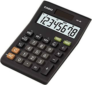 CASIO Kalkulator biurkowy MS-8B, 8-cyfrowy, kalkulator podatku, przeliczanie waluty, zmiana oznaczenia, zasilanie energią ...