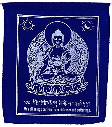 BUDDHAFIGUREN/Billy Held Buddhistische Gebetsfahnen Medizin-Buddha Gesamtlänge der 10 Fahnen 220 cm, feine Qualität Buddha Dekoration