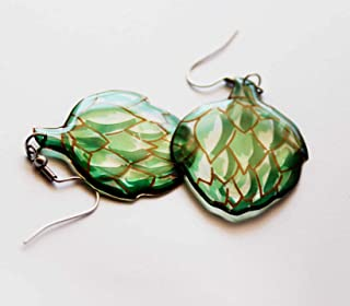 handmade earrings vegan gift vegetarian gift food jewelry vegetable earrings artichoke earrings nature jewelry funny gifts...