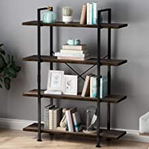 LANGRIA Industrial Bookshelf 4 Tier, Wood Metal Bookcase Black Book Shelf Iron Frame Espresso Antique Shelving Unit, Open Etagere Stand Storage Organizer Accent Furniture for Home Office