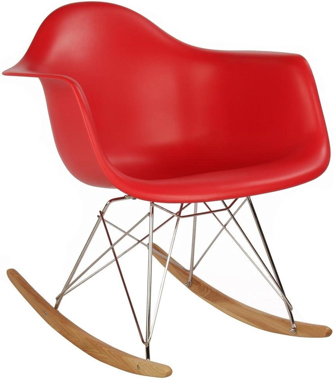 Meubles House PC-0119R-R Mid-Century Modern Eiffel Style Kids Rocker Chair, Red