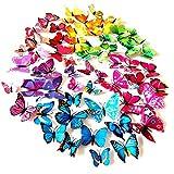 Foonii® 72 Pezzi farfalle 3D adesivi per pareti vari colori decorazione casa stickers mur...