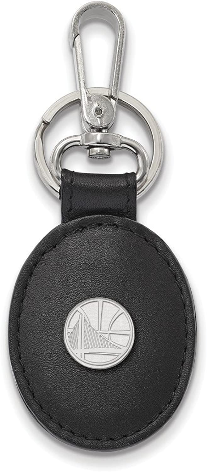NBA golden State Warriors Leather Key Chain in Sterling Silver