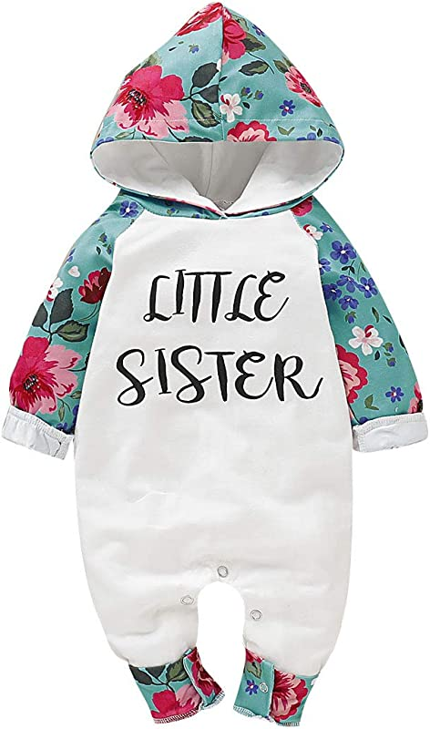 Xiao Reddou Little Sister Romper For Infant Baby Girl Long Sleeve Floral Print Hoodie Bodysuit Fall Outfits