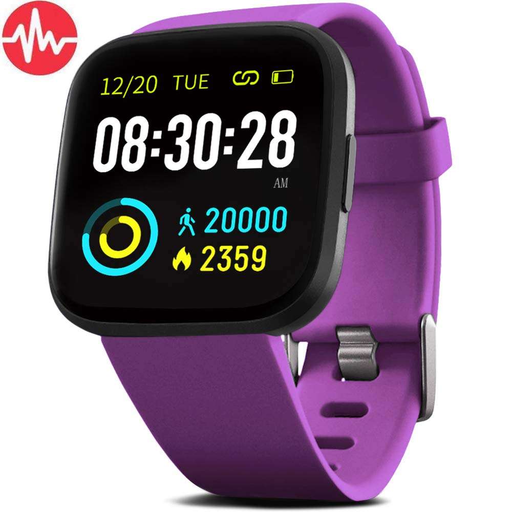 FITVII Smart Watch,Fitness Tracker with Blood Pressure Heart Rate Monitor, ip68 Waterproof Bluetooth Fitness Watch for Android iOS Phone, Sleep Tracking Calorie Counter, Pedometer for Men Women