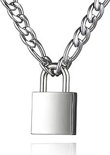 زنجیر قفل گردن بند گردنبند مردانه زنانه نقره ای 18-24 اینچ