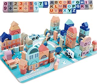 Mochoog Wooden Building Blocks Set, 133 Pieces Educational Construction ABC/123 Blocks Toys for Toddlers Preschool Age, Cognition and Creativity Hardwood Stacking Toys for Kids with Play Mat Puzzle