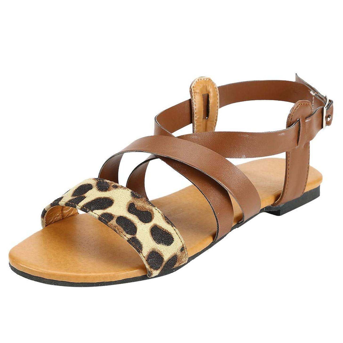Women's Casual Cross Strap Beach Fashion Leopard Beach Walk Shoes Peep Toe Flat Roma Sandals JHKUNO
