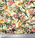 Soimoi Gelbe Seide Stoff Blätter, Vogel & Pfirsich Floral
