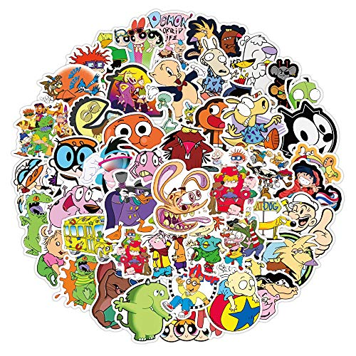 90s Cartoons Stickers for Water Bottles 50 Pcs Waterproof Aesthetic Trendy Stickers for Teens Kids Girls and Boys, Perfect for Laptop Notebook Tablet Phone Car Travel Extra Durable 100% Vinyl