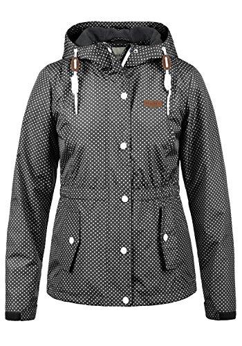 DESIRES Toni Damen Windbreaker Übergangsjacke Regenjacke Mit Kapuze Und Punkte-Muster, Größe:S, Farbe:Black (9000)