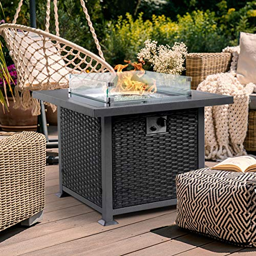 Glass Topped Fire Pit Table with built in wind guard