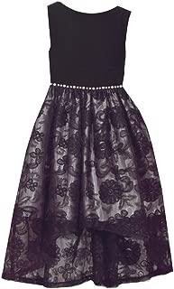 Sleeveless Black Dress with Velvet Bodice and Lace Overlay Hi-Low Skirt