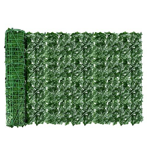 AGJIDSO Pantalla de Cerca de privacidad de Hiedra Artificial, 100*300 cm césped de imitación de jardín de,decoración de Hojas de Planta Falsa para jardín de Valla
