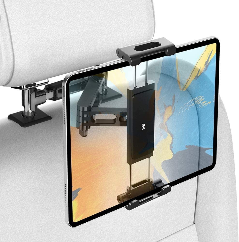 Car Tablet Holder, Headrest Tablet Mount - AHK Headrest Stand Cradle Compatible with Devices Such as iPad Pro Air Mini, Galaxy Tabs, Other 4.7 -12.9