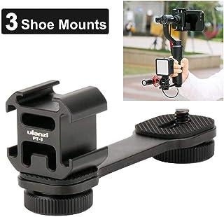 ULANZI PT-3 Soporte de micrófono con 3 Soportes para Zapatos fríos y luz LED para iPhone y Samsung para Smartphone Zhiyun Smooth Q/Smooth 4/dji OSMO Mobile 3 2/Feiyun Vimble 2/dji Ronin SC