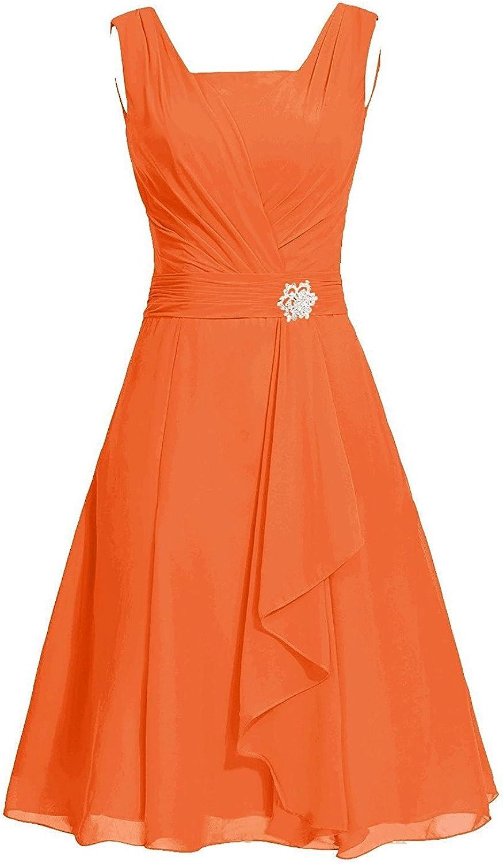 Victoria Prom Women's Short Square Chiffon Bridesmaid Dress Party Dress with Sash
