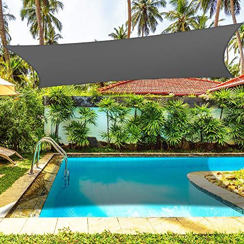 4x3m Sonnensegel Sonnenschutz Garten Balkon Wetterschutz Wasserdichtes Segel für Patio Garten, Terrasse Camping - 95% UV Block - 210 GSM Sonnenschutzstoff (Grau)