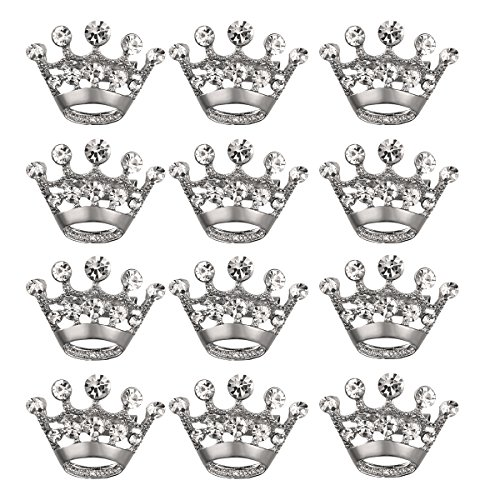 ULTNICE 12pcs Tiara Crown Brooch Pin Wedding Party Pageant Brooch (Silver)