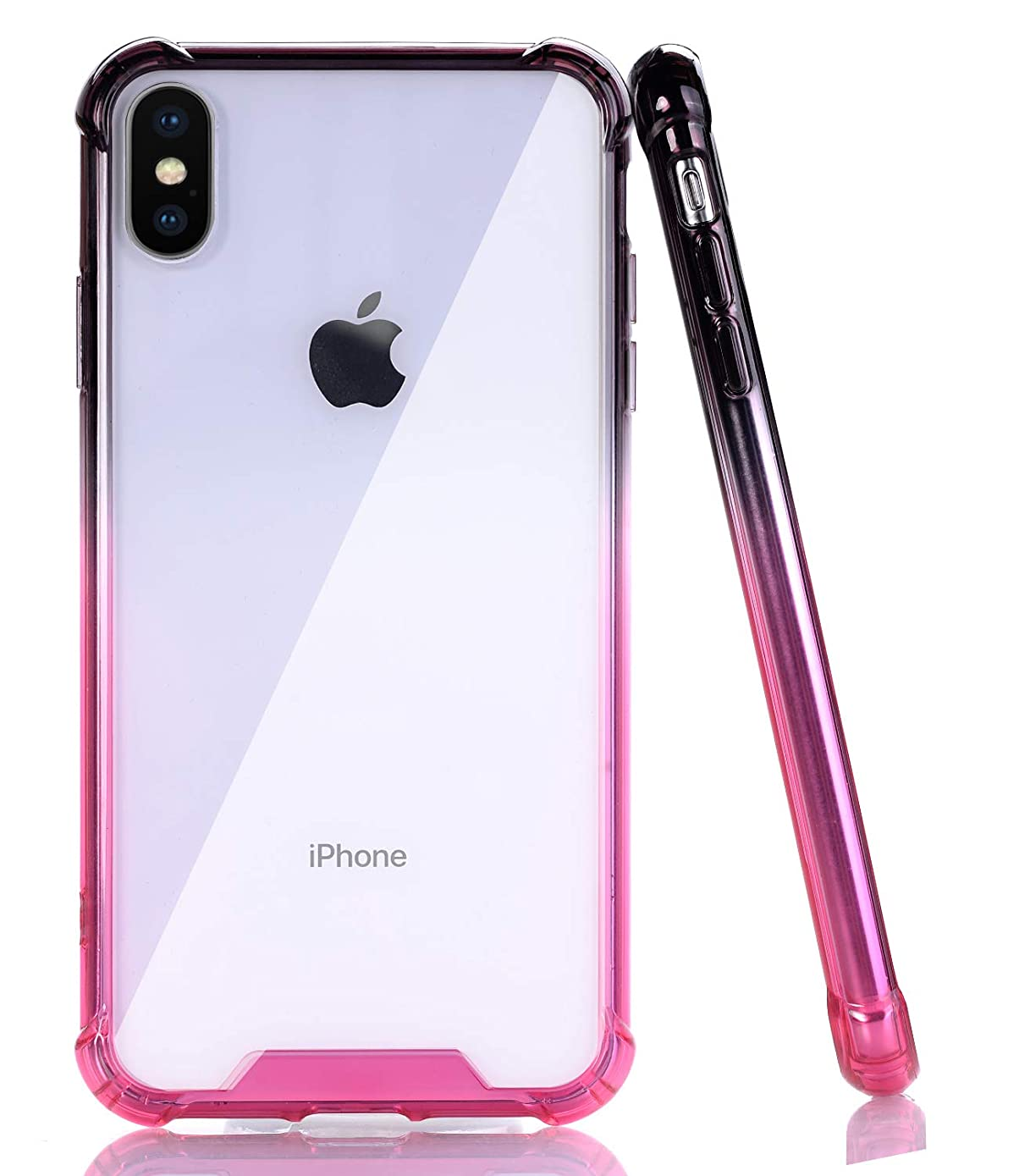 BAISRKE iPhone X Case, Black Pink Gradient Shock-Absorption TPU Soft Edge Bumper Anti-Scratch Rigid Slim Protective Cases Hard Plastic Back Cover for iPhone X iPhone Xs [5.8 inch]