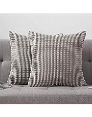 MIULEE Corduroy gooien kussenhoezen zachte pellets solide decoratieve vierkante kussensloop voor bank slaapkamer auto