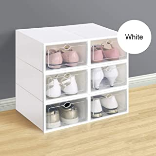 ElevenY Buy 6 Get 6, Thicker Flip Cover Plastic Shoe Rack Organizer Transparent Shoe Boxes Hanger Multifunctional DIY Clamshell Storage Box Home Organization (Color : White, Size : 33.522.514cm)