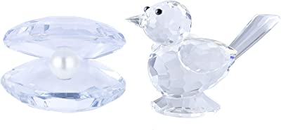 H&D HYALINE & DORA Clear Crystal Collectible Figurines Glass Animals Home Decor Gifts,Sea Shell&Bird