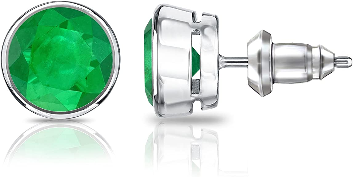 Details about  /2.50 Ct Emerald Cut Green Emerald Bezel Set Stud Earrings 14k Yellow Gold Finish