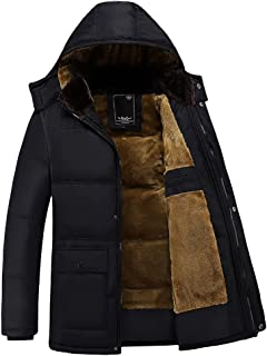 Sun Lorence Men's Hooded Thicken Velvet Wadded Jacket Warm Cotton Padded Down Coat