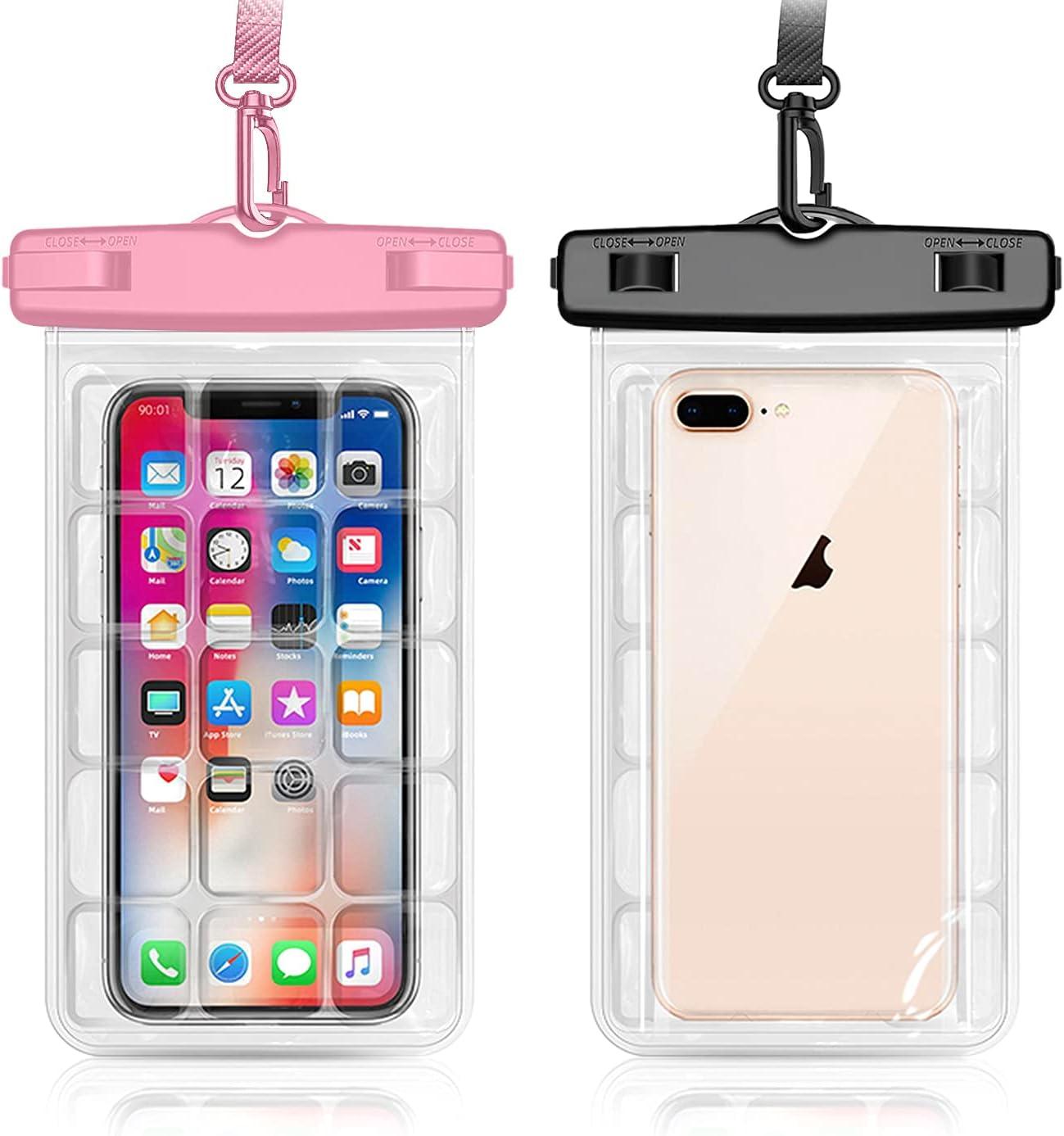 Weuiean Waterproof Phone Case Underwater Waterproof Phone Bag Phone Dry Bag for iPhone 12/11/SE/XS/XR 8/7/6Plus, Samsung S21/20/10/10+/Note up to 7.2 inch - 2Pack Black + Pink