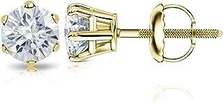 14k Gold Round Moissanite Stud Earrings (1 to 7ct TGW, J-K) 6-Prong Set, Screw-Back by Diamond Wish
