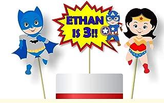 Personalized Superhero Birthday Cake Topper or Baby Shower Centerpiece - Optional Heros Superman, Batman, Captain America, Wonder Woman, Super Girl - Decorations Invitations, Banner - BCPCustom