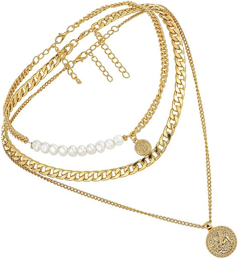 Holibanna Multilayer Necklace Dainty Layered Choker Pearl Chunky Necklaces Punk Chain Statement Collar Necklace for Women