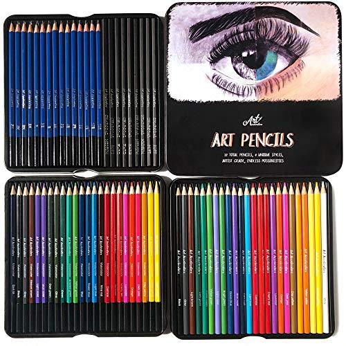 Art Pencils Drawing Kit – 72 Pencil Supplies Set w/ 15 Sketching, 24 Oil...
