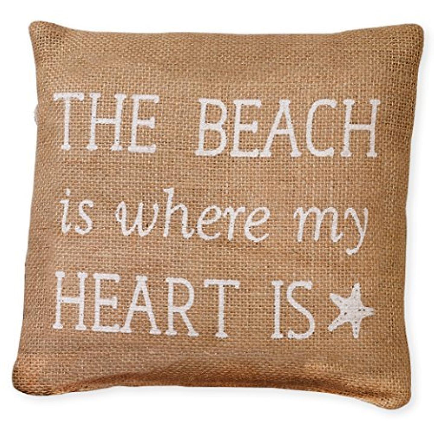 印象ピストン可能にするSmall White The Beach is Where My Heart Is 8 x 8 Burlap Decorative Throw Pillow [並行輸入品]