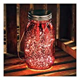 Primitives by Kathy Mercury Glass Lantern Jar Light, 6.75-Inches Tall, Red