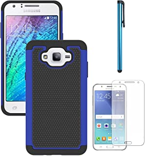 Galaxy J7 Neo J701M/J7 Nxt J701F/J7 Core J701 Case, With Screen Protector, Telegaming Dual Layer Armor Case Drop Protection TPU & Hard PC Back Cover For Samsung Galaxy J7 Neo/J7 Core Duos Blue